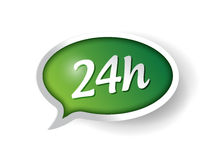 24 hour support message bubble illustration. Design over white Stock Photos