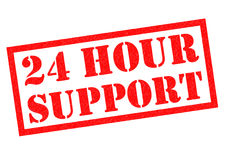 24 HOUR SUPPORT. Red Rubber Stamp over a white background Royalty Free Stock Images