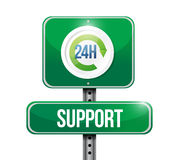24 hour support road sign illustration design Stock Photography