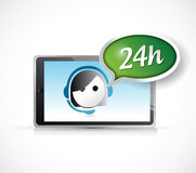 24 hour support on a tablet illustration design Royalty Free Stock Photo