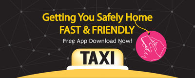 24 Hour Taxi Service 1500x600 Pixel Banner. Stock Image