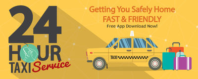 24 Hour Taxi Service 1500x600 Pixel Banner. Stock Images