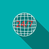 24 hour worldwide service icon, flat style. 24 hour worldwide service icon in flat style on a blue background Stock Images