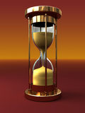 Hourglass. 3d illustration of hourglass over orange background Royalty Free Stock Photos