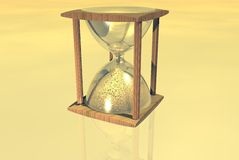 Hourglass. Over yellow background. Illustration Stock Images