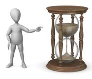 Hourglass. 3d render of cartoon character with hourglass Royalty Free Stock Photos