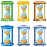 Hourglass. Six abstract colorful hourglasses for designers to different necessities on a white background Royalty Free Stock Photo