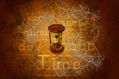 Hourglass. Draw width time words Stock Image