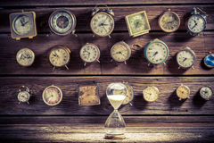 Hourglass as the old way of timing. Closeup of hourglass as the old way of timing royalty free stock image
