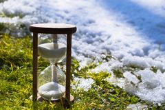 Hourglass as a symbol of changing of the seasons. Spring is coming. Hourglass in the grass and melting snow royalty free stock images