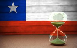 Hourglass on the background of the Chile flag, the concept of time and countries, space for text royalty free stock image