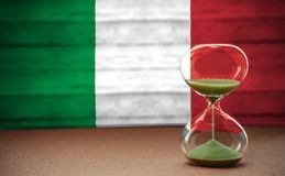 Hourglass on the background of the Italian flag, the concept of time and countries, space for text stock images
