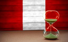 Hourglass on the background of the Peru flag, the concept of time and countries, space for text royalty free stock photo
