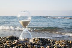 Hourglass on the beach. On the Mediterranean coast, Turkey. Time royalty free stock photography
