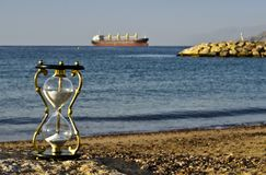 Hourglass on a beach of the Red Sea, Eilat Stock Photos