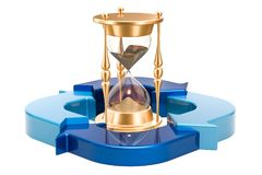 Hourglass with blue arrows, 3D rendering. Isolated on white background Royalty Free Stock Photos