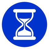 Hourglass blue circle icon royalty free illustration