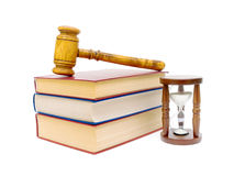 Hourglass, books and judges gavel Royalty Free Stock Photography