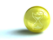 Hourglass button. Illustration of hourglass on spherical yellow button, isolated on white background Stock Images
