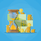 Hourglass clocks with dollar coins stacks. Old style hourglass clocks with dollar coins stacks. Time is money concept. vector illustration. flat style clocks Stock Image