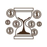 Hourglass with coins isolated icon. Vector illustration design royalty free illustration