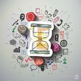 Hourglass collage with icons background Royalty Free Stock Photos