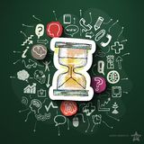 Hourglass collage with icons on blackboard. Vector illustration Royalty Free Stock Photography