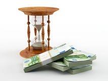 Hourglass com euro ilustração stock