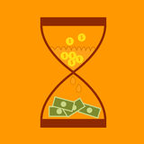 Hourglass concept business finance money. Transform Royalty Free Stock Photography