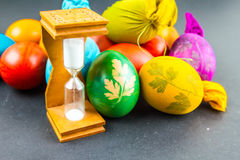 Hourglass for cooking Easter eggs Royalty Free Stock Image