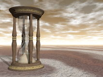 Hourglass - 3D render. Wooden hourglass by brown sunset - 3D render Stock Photo