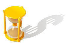 Hourglass and dollar shadow. On a white background Royalty Free Stock Images