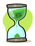 Hourglass with dollar sign illustration. Sand glass with dollar sign drawing; Time is money concept royalty free illustration