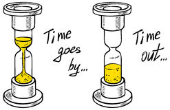 Hourglass drawing time Stock Photo