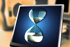 Hourglass with dripping liquid at monitor Royalty Free Stock Image