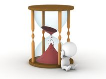 Hourglass almost empty and upset 3D man Stock Image
