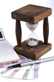 Hourglass with Euros Stock Photography