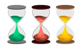 Hourglass flat vector illustration. NSet of sand-clock with colored sand. The concept of time for printing or banner. An interesting embodiment for the design Stock Illustration