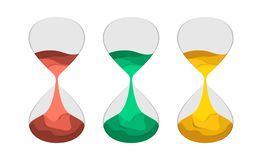 Hourglass flat vector illustration paper cut. Set of sand-clock with colored sand. The concept of time for printing or banner, paper art style. An interesting Vector Illustration