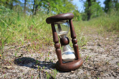 Hourglass in forest Stock Photo