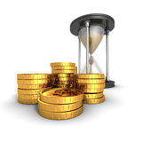 Hourglass With Golden Dollar Coins. Time Is Money Concept Royalty Free Stock Images