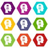 Hourglass in head icon set color hexahedron. Hourglass in head icon set many color hexahedron isolated on white vector illustration Stock Photo