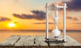 Hourglass. Abstract future horizon sea space water Royalty Free Stock Photography