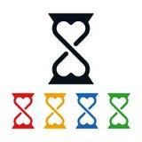 Hourglass i serca ikony zdjęcia royalty free