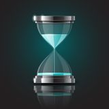 Hourglass icon. Hourglass filled with star dust on black background vector illustration