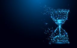 Free Hourglass Icon From Lines And Triangles, Point Connecting Network On Blue Background Stock Photography - 104156852