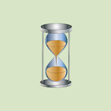 Hourglass. Illustration vector sand watch on the light green background Stock Images