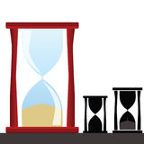 Hourglass illustration vector with silhouette Royalty Free Stock Image