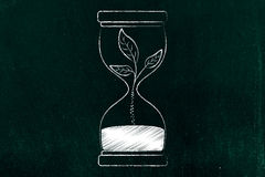 Hourglass with leaves turning into sand, act fast for the enviro Royalty Free Stock Photos