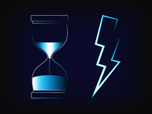 Hourglass and lightning bolt vector, time and speed concept Stock Photo